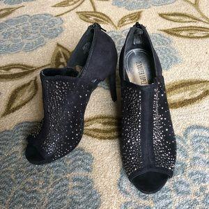 JLo black velvet heels
